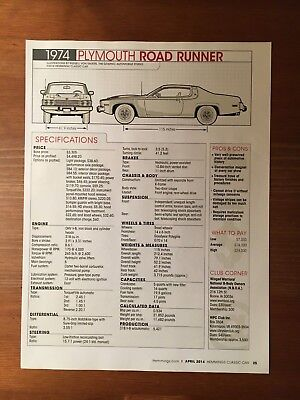 1974 Plymouth Road Runner Specification Sheet Magazine Ad