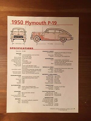 1950 Plymouth P-19 Specification Sheet Magazine Ad