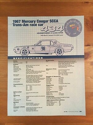 1967 Mercury Cougar Scca Trans-Am Race Car Specification Sheet Magazine Ad