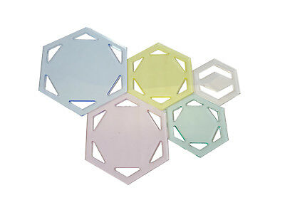 Duroedge Acrylic Hexagonal Quilting/Patchwork Transparent Template Set