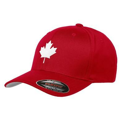 Canada Maple Leaf Flag Hat Flexfit Premium Classic Yupoong Wooly Combed Canadian