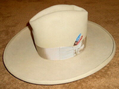 75acaffe VINTAGE STETSON TOM Mix Style Fur/Felt? Mens Hat w/ Side Feather Sz ...