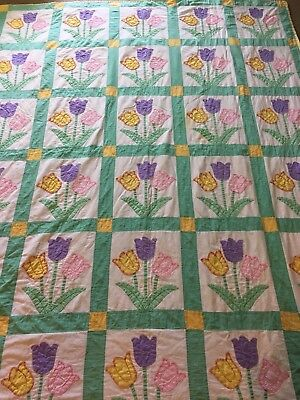 """Vintage Hand made Tulip Pattern Twin Quilt 72"""" X 92"""" white lav pink green yellow"""