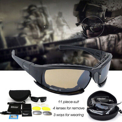 X7 Military Tactical Goggles+ 4 Lens Motorcycle Riding Glasses Eyewear
