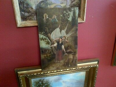 Fine Late 19th c,French Oil on Panel. Visitation of Angels to Joan of Arc Study.
