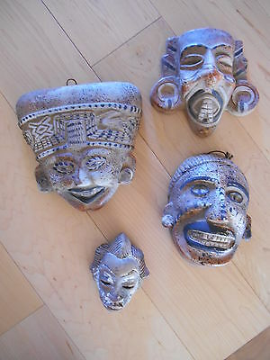 4 Terra Cotta Masks Mayan or African Tiki Look Primitive hand painted Folk Art