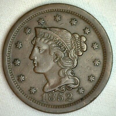 1852 Braided Hair Large Cent Copper US Type Coin Extra Fine 1c Penny XF M4