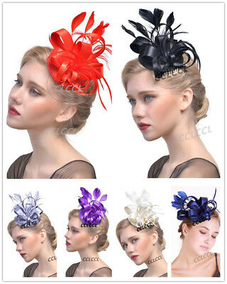 Ladies Flower Feather Fabric Fascinator Royal Ascot Race Wedding HenParty