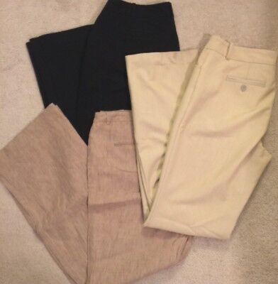 Lot of 3 Women's Work Pants Black Tan Brown Size 8 Worthington Coldwater Creek