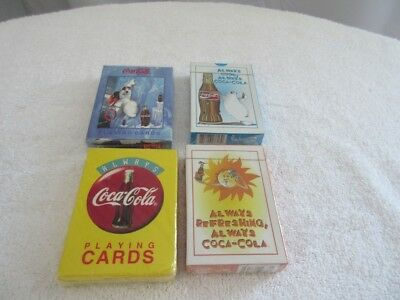 4 different  Sealed   Coca Cola Playing Cards Original