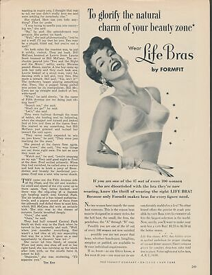 Print Ad~Vintage~1950s Life by Formfit~Bra~Brunette~Natural Beauty Zone~F100
