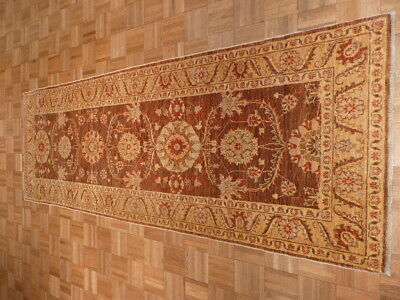 3 X 9 Runner Brown Hand Knotted Peshawar Design Oriental Rug G437