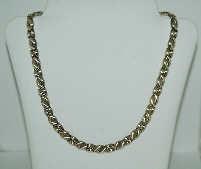 Vintage Italy Heavy .925 Sterling Silver Link Fancy Pattern Necklace 26 grams