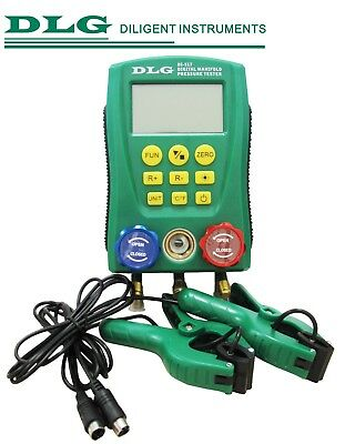 DLG DI-517 Digital Manifold Gauge Refrigeration System HVAC with 2 Clamp Probes