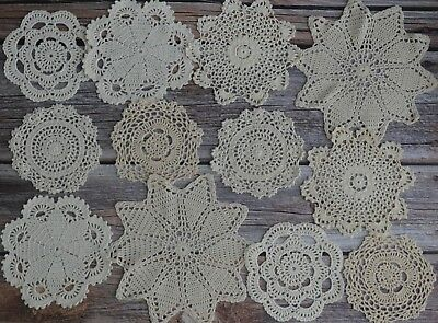 10 Crochet White Lace Doilies Lot In Bulk Country Wedding Coasters