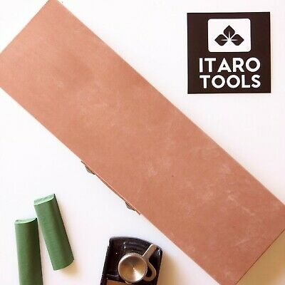 "FLAT Leather Strop Block 10x3"" Smooth and Suede Sides w/ Honing Compound"