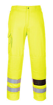 Portwest Hi Vis Combat Trousers Cargo Safety Pockets Elastic Back Workwear E046