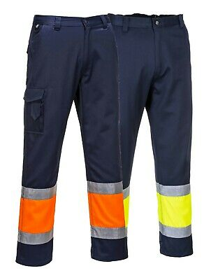 Portwest Hi Vis Two Tone Combat Trousers Safety Cargo Contrast Workwear E049