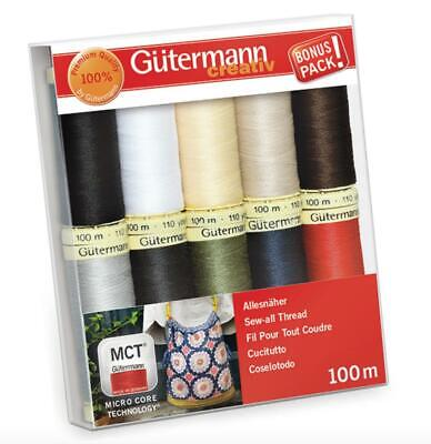 Gutermann Sew All Thread Set - 10x 100m Reels Mix Colours - Classic Basics