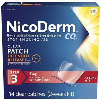 New Nicoderm CQ Step 3. 7mg 14 Patches 2 Week Supply - Nicotine Patch EXP09/2018