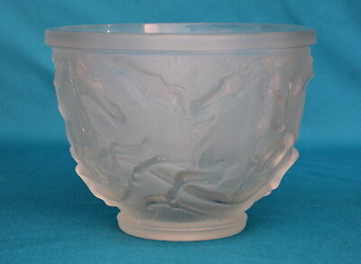 Vintage Czech Bohemian Barolac Frosted Art Glass Horses Of Poseidon Bowl