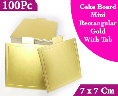 Cake Board Mini Square Gold With Tab 100Pc 7 x 7 Cm Cupcake Boxes Cake Boxes