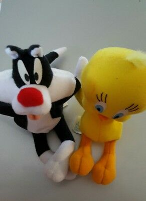 1998 Warner Bros Looney Tunes Tweety Bird & Sylvester Cat Plush Bean Stuffed $10