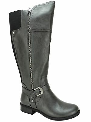 df5db8c7efc G BY GUESS Women's Hailee Wide-Calf Riding Boots Dark Gray Size 7 M W.C.