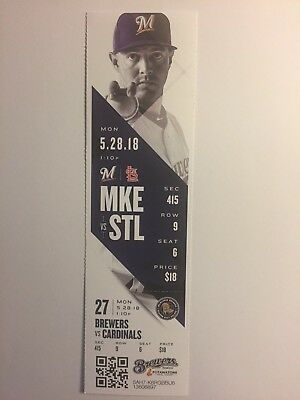 Milwaukee Brewers Vs St Louis Cardinals May 28, 2018 Ticket Stub