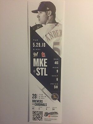 Milwaukee Brewers Vs St Louis Cardinals May 29, 2018 Ticket Stub