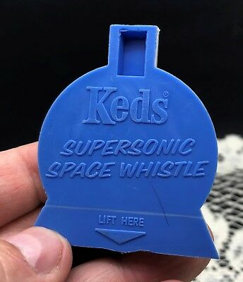"""Keds Supersonic Space Whistle - Blue and White Plastic - 2.25"""" tall - vintage"""