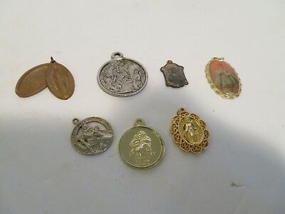 Vintage Lot of 7  RELIGIOUS  MEDALS   ST CHRISTOPHER   MARY
