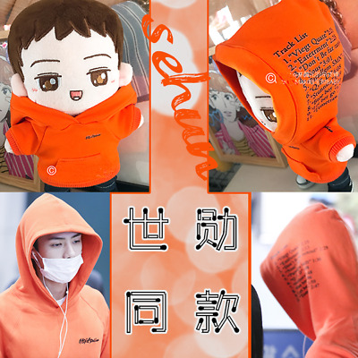 Hand-made Kpop EXO XOXO Oh Se Hun Doll Clothes Orange Letter Hoodie Gift Be
