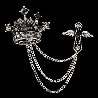 Men Jewelry Accessories Rhinestones Crown Cross Badge Tassel Brooch Best PR
