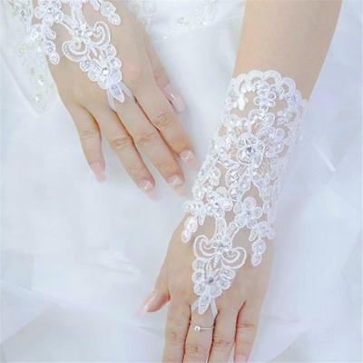 Bride Wedding Party Dress Fingerless Pearl Lace Satin Bridal Gloves
