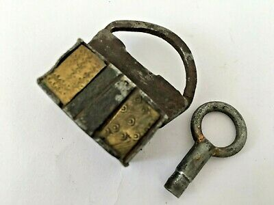 Old Iron Unique Shape Brass Fitted Engraved Handcrafted Screw Padlock