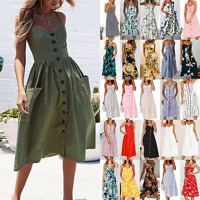 AU Womens Holiday Strappy Button Pocket Ladies Summer Beach Midi Swing Sun Dress