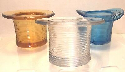 VINTAGE EAPG Early American Pattern GLASS lot of 3 TOP HATS match saves, variety