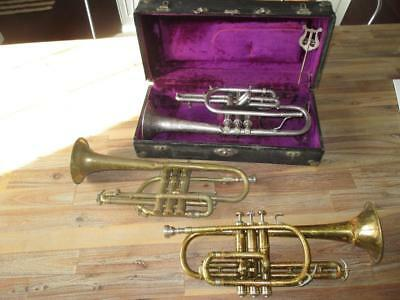 Vintage Lot of Cornet 2x King Master Silver and Brass + The Martin Imperial