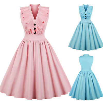 AU Womens Button Vintage 50s 60s Rockabilly Evening Prom Swing Dress Plus Size