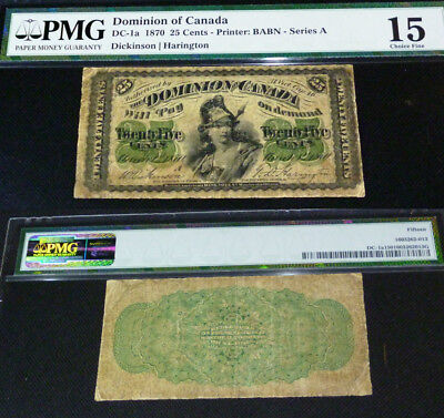 1870 LETTER A -DOMINION OF CANADA  25 CENTS DC-1a PMG 15