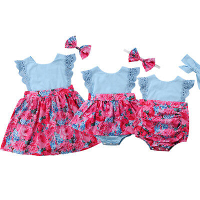 Cute Sister Matching Clothes Kids Baby Girls Lace Flower Romper Dress Outfit Set