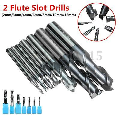 Solid Carbide End Mill 2 Flute CNC Cutter Slot Drill Bit TiAlN 2 3 4 6 8 10 12mm