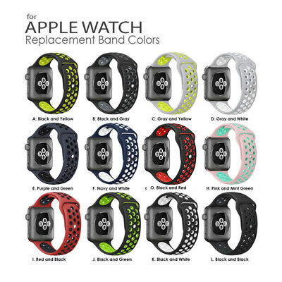 Replacement Silicone Sport Band Strap For Apple Watch I Watch 38mm 42mm 12 Color