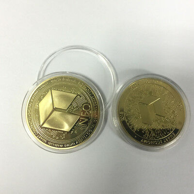 2018 Gold Plated NEO Commemorative Virtual Coin Gift Physical NEOCoin Collection