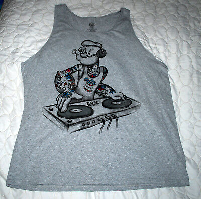 Mens T-Shirt Size XL Cartoon Popeye DJ Rap Hip Hop Dance Music Tattoo Light Gray