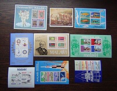 Malawi 9 x M/S MNH 1977 1983 Fish Airport Rotary Christmas Raphael London 1980