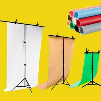 T Backdrop Stand Support Photo Studio Photography PVC Background Paper with Clip