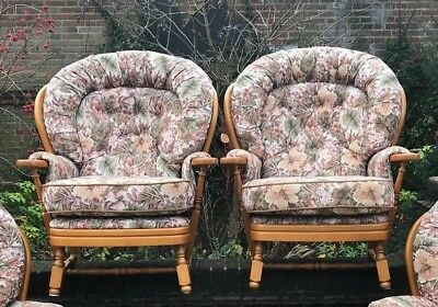 Pair Of Good Quality Beech Armchairs With Removable Cushions & Footstool