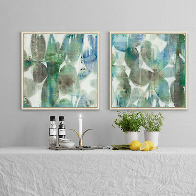 2 Piece Wall Art Set Digital Canvas Prints Grey Green Abstract Leaves Unframed